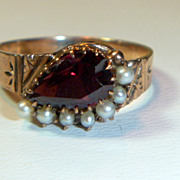 SALE PENDING Antique Victorian 14K Rose Gold  Garnet & Pearl Ring