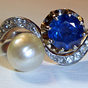 SOLD Antique Natural Saltwater Pearl and Sapphire Ring