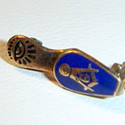 SALE PENDING Antique Masonic 12K & Enamel Slipper Pin.