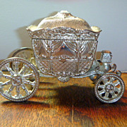 SALE PENDING Vintage Silver Plated Cinderella Carriage Ring Box
