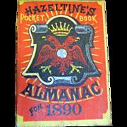 SALE Antique 1890 Hazeltines Almanac 1890