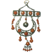 Antique Silver & Coral Pendant