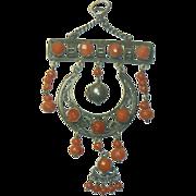 Antique Silver & Coral Pendant