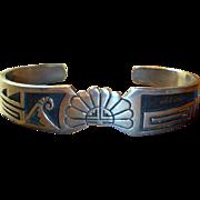 Vintage Native American Hopi Overlay Sterling Silver Bracelet