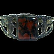 Vintage Navajo Sterling Silver & Agate Bracelet