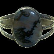 Vintage Navajo Sterling & Agate Bracelet