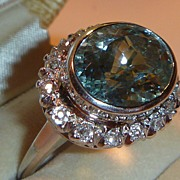 SOLD Vintage Art Deco Aquamarine Diamond & Platinum Ring