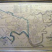 SALE Antique Map of Cambridge Massachusetts in 1852