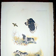 SALE Lithograph of an Setters by BORIS RIAB