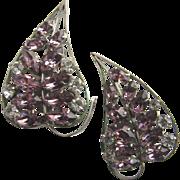 Large & Lovely Purple & Clear Rhinestones Leaf Earrings!