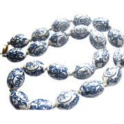 Chinese Asian Porcelain Blue & White Large Beads Necklace