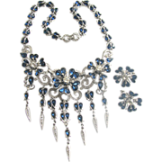 Crown TRIFARI Glamorous Drippy Rhinestones Necklace & Earrings