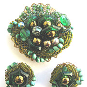 Clustered Green Beads Pin & Earrings