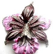 1940s Enameled Orchid Flower Fur Clip