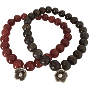 SALE Duo Beaded Bracelets - Fire Agate and Bronzite - Hill Tribes Silver Floral