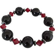 SOLD Black Onyx (AAA Grade), Red Swarovski Crystal, Hematite Bracelet