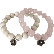 SALE Duo Beaded Bracelets - Riverstone and Rose Quartz - Hill Tribes Silver Floral