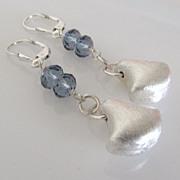 SOLD Denim Sterling Swing - Sterling Silver, Swarovski Crystal Dangle Earrings
