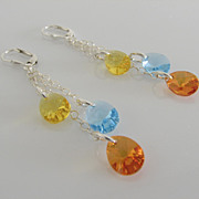 SOLD GORGEOUS & DAZZLING ! Rainbow Cascades - Swarovski Crystal - 2 3/4 Inch Dangle Earrings -
