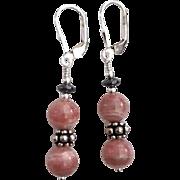 SOLD Custom Order - Rhodochrosite, Sterling Silver Dangle Earrings