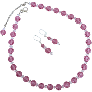 SALE Dazzling - 10 mm Rose Pink Swarovski Crystal - Necklace and Earrings