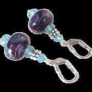 Color Shifting - Boro Plum Prisms - Artisan Glass Lampwork Beaded, Swarovski Crystal, Sterling