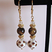 SOLD One-Of-A-Kind - Elegantly Exotic, Italian Moretti Glass Lampwork Beaded, Vermeil Dangle E