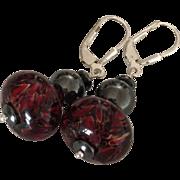 SALE Dynamic - Deep Red Boro - Artisan Lampwork Beaded, Reflective Steely Hematite, Sterling .