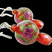 SALE Tangerine Orange, Pink Florals, Italian Moretti Glass Lampwork Beaded, Cubic Zirconia and