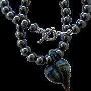 SALE One-Of-A-Kind - Artisan Free Form Boro Glass Heart Focal, Swarovski Crystal Pearl, 22 Inc