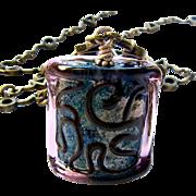 SALE Brassy Mosaic, Italian Moretti Glass Lampwork Focal, 28 Inch Wearable Art Necklace