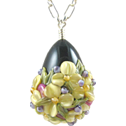 SALE Forever Blooming, Italian Moretti Glass - Artisan Lampwork Floral Focal, Sterling Silver