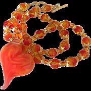 SALE Vibrant Dazzling Orange Elegance, Boro Glass Artisan Lampwork Heart Focal, Swarovski ...