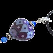 SALE Italian Moretti Glass, Lampwork Beaded Heart Focal Pendant Necklace - One-Of-A-Kind Weara