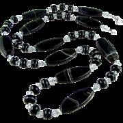 SALE Multi Versatile - Banded Black, Italian Moretti Glass Lampwork, Gemstone Agate, 32 Inch W