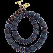 SOLD Gorgeous - Blues - Italian Moretti Glass Lampwork Beaded - Wearable Art Necklace