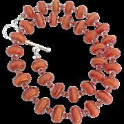 SALE Orange Mango - Italian Moretti Glass - Artisan Lampwork Necklace - Wearable Art !