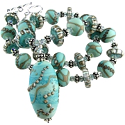SALE Patina Green Blue, Italian Moretti Glass Lampwork, Bali Sterling Silver, Swarovski Crysta