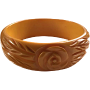 SALE Bakelite Rose Carved Bangle in Butterscotch