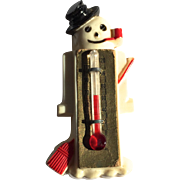 SOLD Rare Snowman Celluloid Thermometer Pin