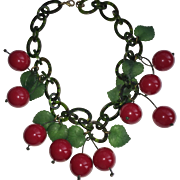 SOLD French Galalith Red Cherry Necklace