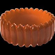 SALE Exceptional Hand-carved Caramel Bakelite Bangle