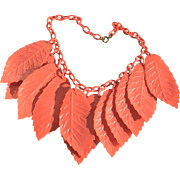 SALE Vintage Celluloid Leaf Necklace