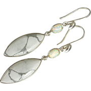 SOLD White Turquoise and Opal Sterling Silver Earrings