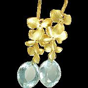 """SOLD AAA  Sky Blue Topaz """"Orchid"""" Earrings"""