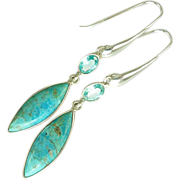 SOLD Arizona Turquoise and Blue Topaz Sterling Earrings