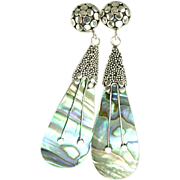 SOLD Abalone and Balinese Sterling Silver Earrings