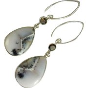 SOLD Dendritic Opal and Smoky Topaz Sterling Silver Earrings - Red Tag Sale Item