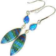 Rainbow Calsilica & Fire Opal Sterling Silver Earrings