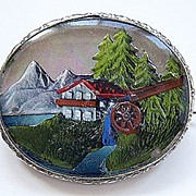 Vintage Painted Intaglio Under Glass Pin ~ Rare Mountain Scene